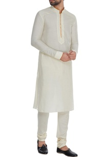 off-white-saffron-cotton-kurta-set