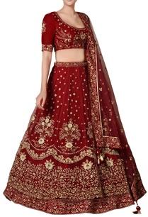 burgundy-red-zardozi-sequin-embroidered-lehenga-set