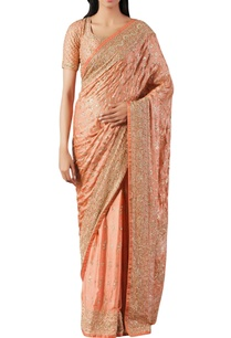 peach-gazzi-silk-embroidered-saree-with-unstitched-blouse