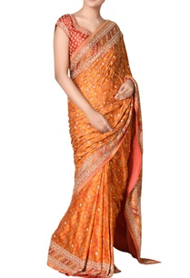 red-orange-aari-embroidered-saree-with-unstitched-blouse