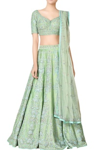 mint-green-3d-embroidered-chanderi-silk-lehenga-set