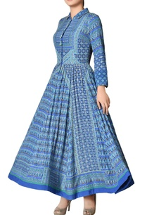 blue-crepe-silk-geometric-handwork-dress