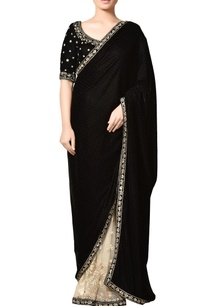 black-off-white-thread-embroidered-velvet-saree-with-blouse-and-floral-motifs