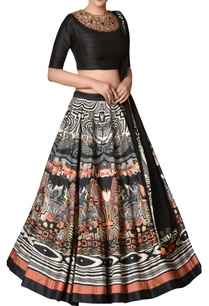 black-dupion-silk-lehenga-set