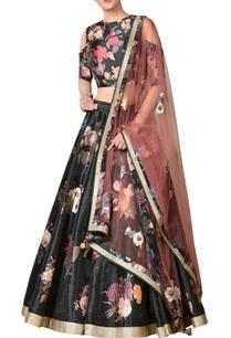 black-floral-printed-dupion-silk-lehenga-with-cold-shoulder-blouse-dupatta