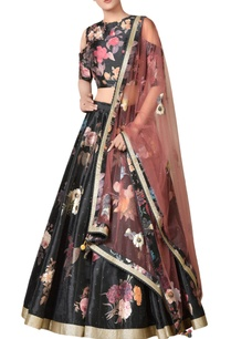 black-floral-printed-dupion-silk-lehenga-with-cold-shoulder-blouse-dupatta