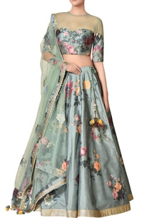 mint-poly-dupion-silk-floral-printed-lehenga-set