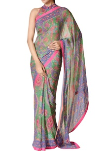 emerald-green-purple-printed-chiffon-saree-with-blouse