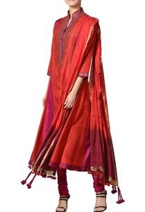 red-fuchsia-pink-taffeta-silk-kurta-set