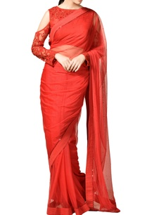 red-net-saree-with-cold-shoulder-blouse
