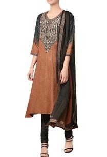 brown-black-noile-silk-embroidered-asymmetric-kurta-set