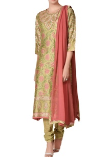 khaki-green-chanderi-silk-kalamari-printed-kurta-set
