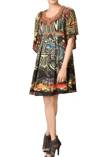 black-printed-dress-with-embroidered-neckline