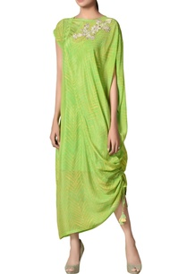lime-green-rayon-crepe-draped-dress-with-inner