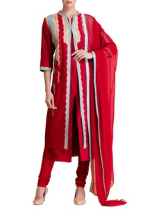 red-chanderi-silk-embroidered-kurta-set