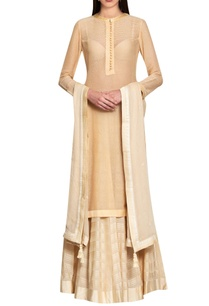 beige-cotton-viscose-georgette-hand-embroidered-kurta-with-lehenga-dupatta