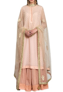 peach-pink-georgette-block-printed-silk-voil-thread-sequin-embroidered-kurta-with-lehenga-dupatta