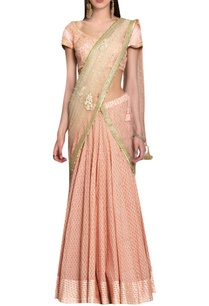 peach-pink-georgette-block-printed-silk-voil-silk-thread-applique-sequin-embroidered-lehenga-with-blouse-dupatta
