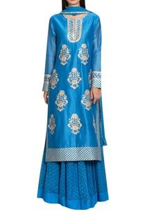 blue-chanderi-georgette-gota-thread-embroidery-kurta-with-lehenga-dupatta