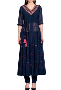 navy-blue-georgette-viscose-cotton-thread-work-kurta-with-churidar