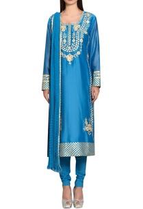 blue-chanderi-cotton-gota-and-thread-embroidered-kurta-with-churidar-dupatta