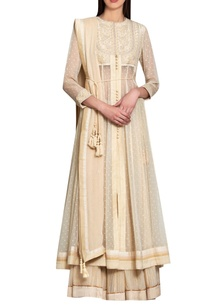 beige-silk-georgette-viscose-thread-work-kurta-with-lehenga-dupatta