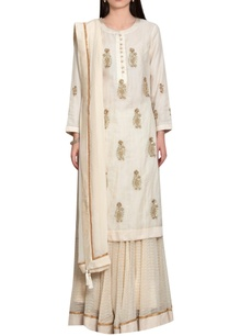 off-white-rust-chanderi-block-printed-silk-work-zardozi-kurta-with-lehenga-dupatta