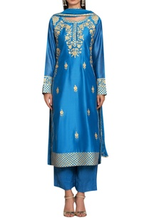 blue-chanderi-cotton-gota-and-thread-embroidered-kurta-with-pants-dupatta