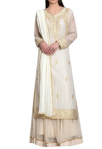 off-white-chanderi-georgette-gota-thread-embroidery-kurta-with-lehenga-dupatta