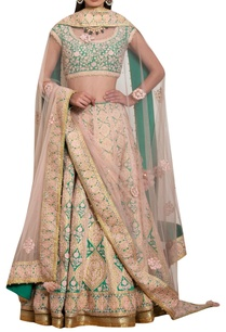 peach-green-raw-silk-applique-thread-embroidered-lehenga-set