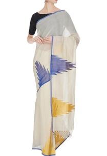 cream-blue-handloom-cotton-zari-saree-with-unstitched-blouse