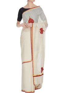 cream-red-handloom-cotton-zari-sari-with-unstitched-blouse