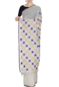 cream-blue-handloom-cotton-zari-sari-with-unstitched-blouse