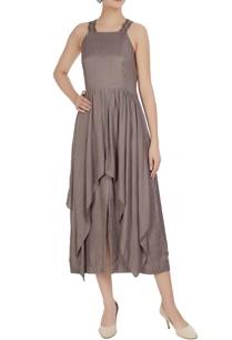 gunmetal-grey-poplin-overlay-midi-dress