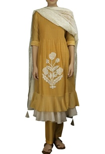 mango-yellow-chequered-kora-thread-work-layered-dress-with-off-white-dobby-dupatta