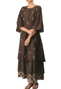coffee-cotton-linen-embroidered-long-flared-layered-kurta