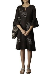 coffee-cotton-linen-embroidered-short-dress