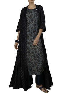 indigo-cotton-silk-a-line-dress-with-fish-print-tiered-jacket