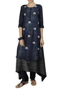 indigo-cotton-silk-fish-print-three-tiers-anarkali-kurta