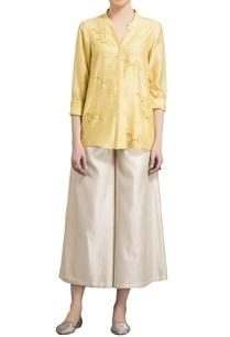 yellow-chanderi-horse-motif-warli-shirt