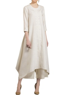 ivory-embroidered-asymmetric-neoprene-kurta
