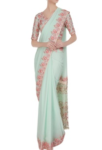 mint-green-pink-resham-embroidered-georgette-sari-with-blouse