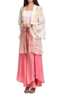 pink-peach-hand-dyed-block-printed-jacket-set