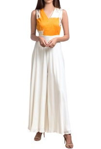 white-orange-double-georgette-overlap-jumpsuit