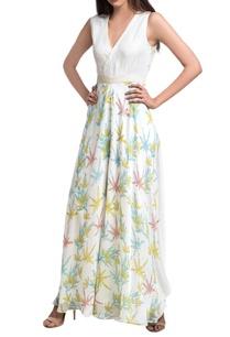 white-blue-floral-block-printed-overlap-jumpsuit