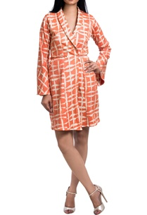 orange-white-overlap-jacket-dress