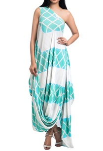 sea-green-white-one-shoulder-draped-maxi-dress
