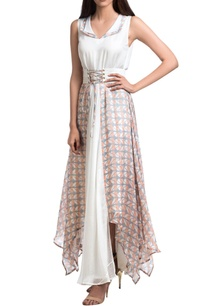 grey-white-block-printed-maxi-dress-with-corset-belt