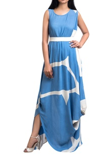 blue-white-brush-painted-georgette-maxi-dress-with-white-belt