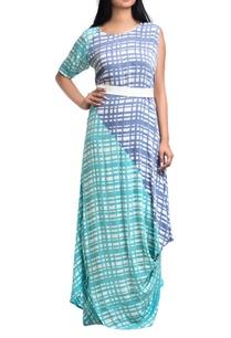 sea-green-lavender-georgette-one-shoulder-dress-with-belt